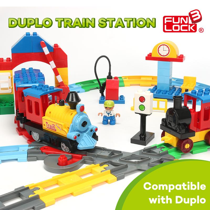 Funlock Duplo Train Blocks Auto Battery Operated Train Coach Track Kids Toys Railway Assembling Parts(China (Mainland))
