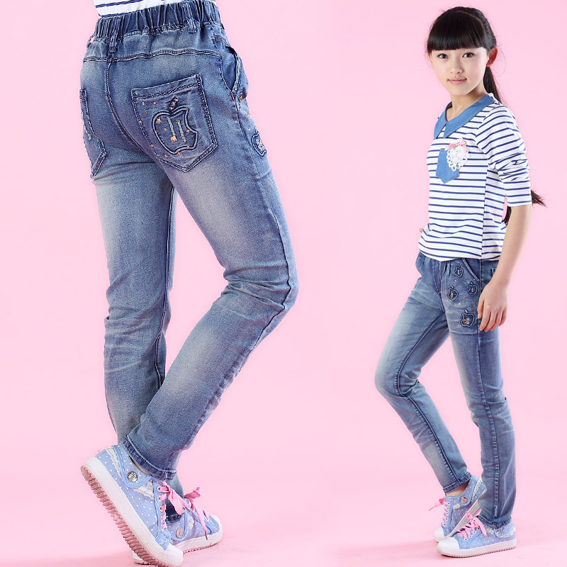 Girls jeans clothing 2015 spring and autumn child trousers teenage girls denim pants super excellent children's clothing retail(China (Mainland))