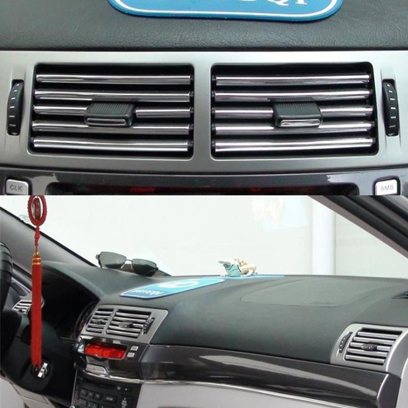 2m u style diy car interior air conditioner outlet vent grille chrome decoration strip silvery. Black Bedroom Furniture Sets. Home Design Ideas