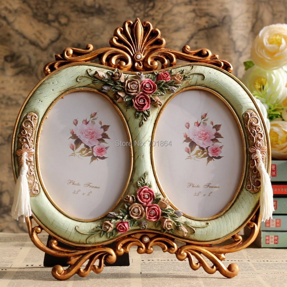 Vintage home decor 3 5 x 5 double oval photo frames with for Antique home decorations