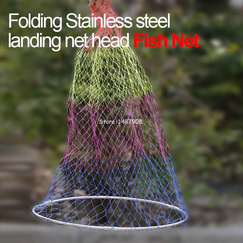 1pc 50CM Fly Fishing fish Folding Landing Net Stainless Steel Head Ring Strong fishing Nylon Quick drying colorful net L280(China (Mainland))
