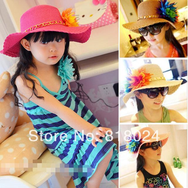 6 цветов в розницу красочный цветок девочки соломенная шляпа дети большой широкий флоппи широкими полями пляж шляпа дети солнца кепки бесплатная доставка