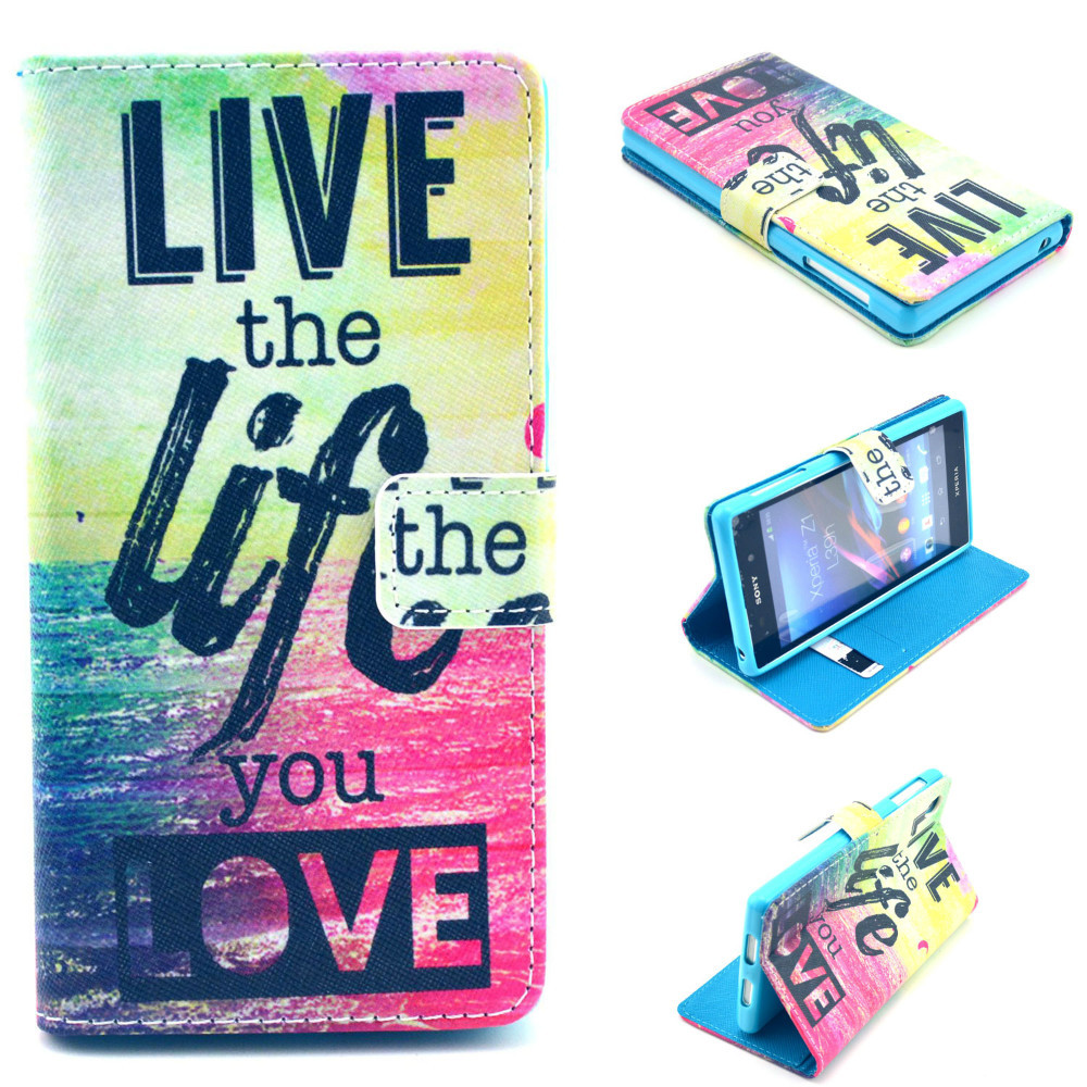 ! Fashion Print Leather Case Sony Xperia Z1 L39h C6906 C6903 C6902 C6943 Flip Mobile Phone Bag Cover - Superior Technology Co.,Ltd store