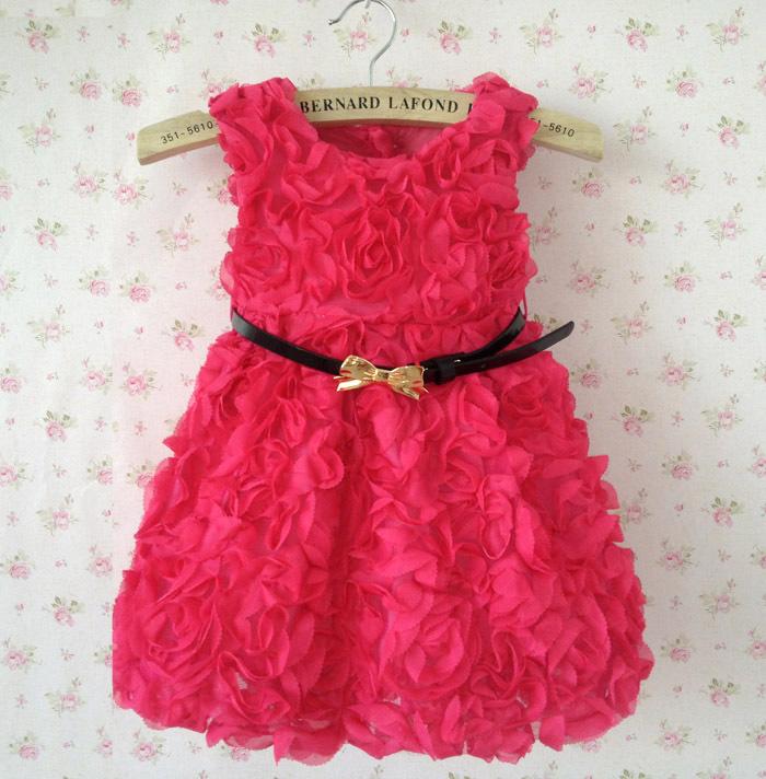 Girls New Fashion 2013 Kids Rose Flower Christmas Dress Baby Dresses Hop Pink Children Clothing Autumn -Summer Supernova Sale