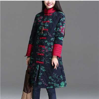 Vintage Featured Chinese Clothing Ethnic Print Pattern Long Robe Coat Women Thick Winter Outwear Cotton Padded Overcoat A3773