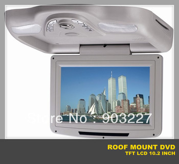 roof mount DVD player with 10.2 inch screen flip down monitor ,Game,free shipping