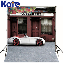 Photography Backdrops Red Wall Window Door Photography Baby Backdrop White Car Balloon Background Child Photo Studio