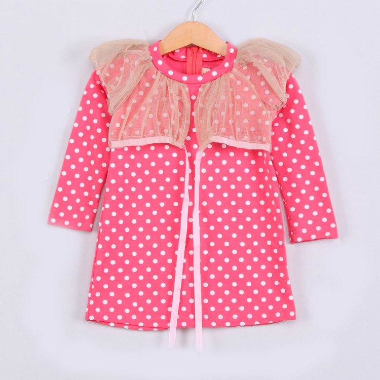 2015 spring mesh dots dress baby girls long sleeve casual straight dress A1620(China (Mainland))