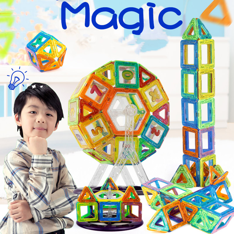 Hot !!! Mini Magnetic Designer Building Blocks Kids Toys Technic Plastic 3D DIY Bricks Children Magnet Enlighten Assembly Blocks(China (Mainland))