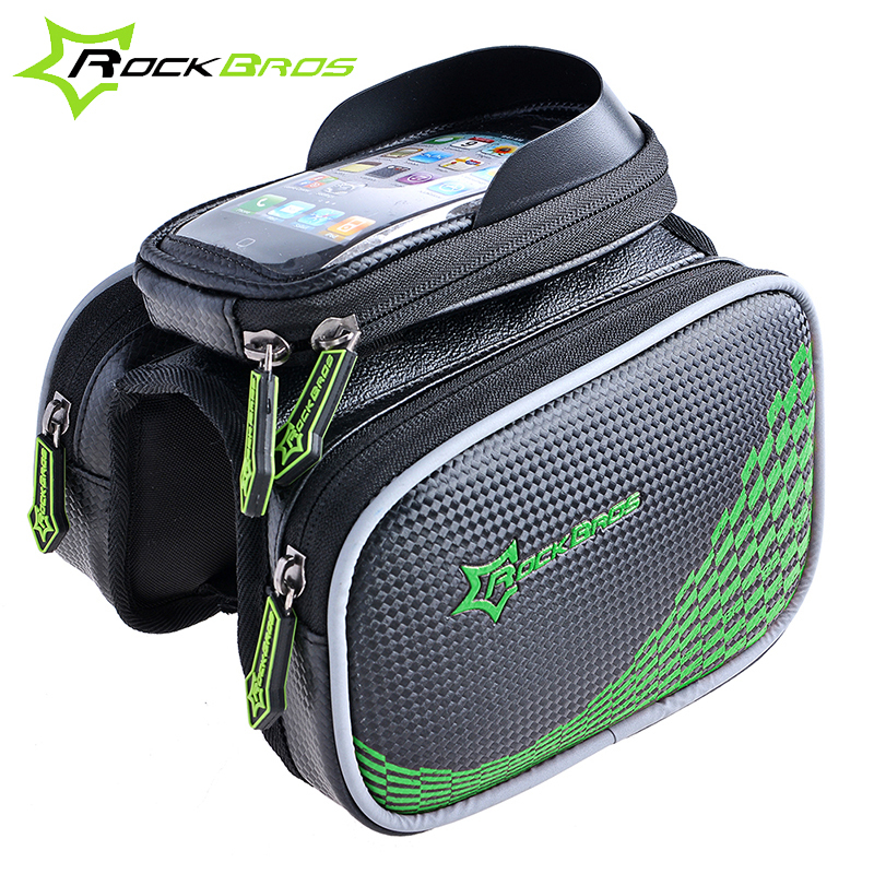 ROCKBROS Bike Bicycle Frame Front Head Top Tube Bag Double IPouch Cycling Pannier For 4.2/ 5.8 /6 inch Smartphone Touch Screen(China (Mainland))