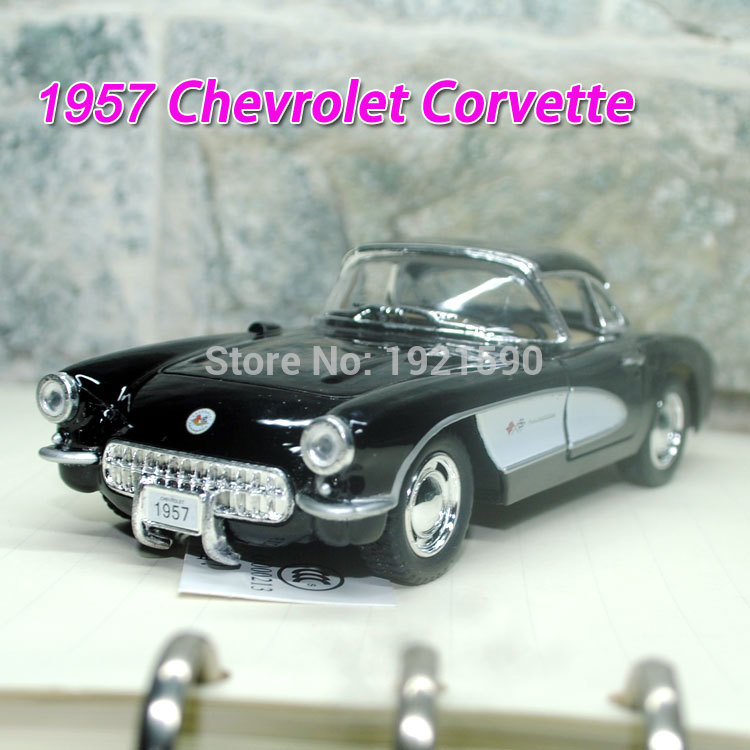 Brand New KINGSMART 1/34 Scale USA 1957 Chevrolet Corvette Vintage Diecast Metal Pull Back Car Model Toy For Gift/Collection(China (Mainland))