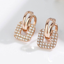 Buy Fashion Silver Gold color Full Crystal Rhinestone Square Stud Earrings Women Temperament Statement Jewelry Piercing Earring for $1.42 in AliExpress store
