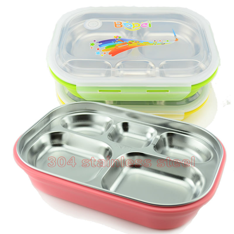 wholesale/retail high quality 304 stainless steel child cartoon dinner plate lunch box Snack plate(China (Mainland))