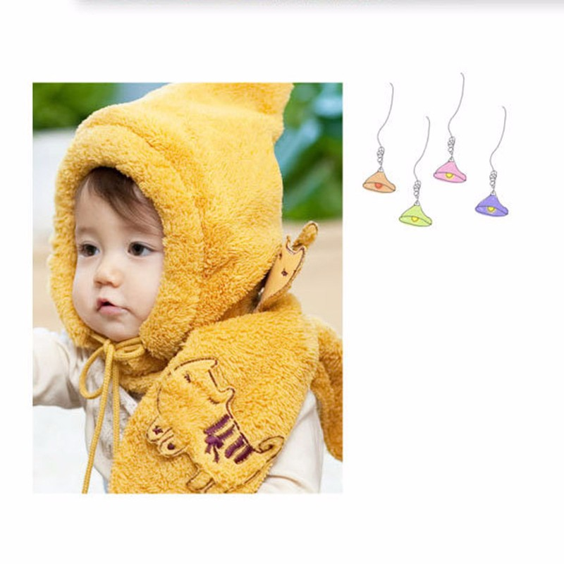 Tiger Pattern Children Scarf Hat Set Winter Soft Velvet Hat Scarves Suit With Lanyards Ball Boy Girl Thick Warm Accessories 2Pcs