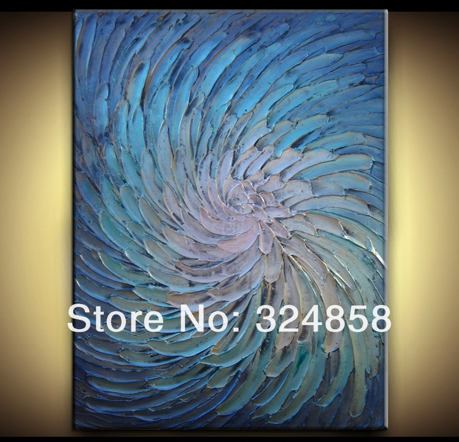 Abstract blue white metallic painting modern heavy texture for Texture painting ideas canvas