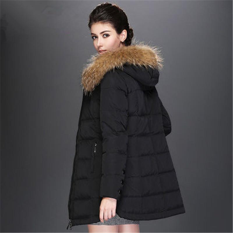 2015 Winter Women Long Hooded White Duck Down Jacket Parkas Slim Thick Real Fur Collar Coat Plus Size Women Overcoat LJ3538
