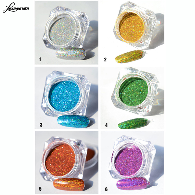 6 colors/set Nail Holographic Dust Mermaid Trend Laser Glitter Powder Pigment hot M02738(China (Mainland))