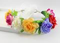 multi color Wedding rose fairy Flower Wreath headband Kids Party Floral garlands Ribbon Adjustable flower crown