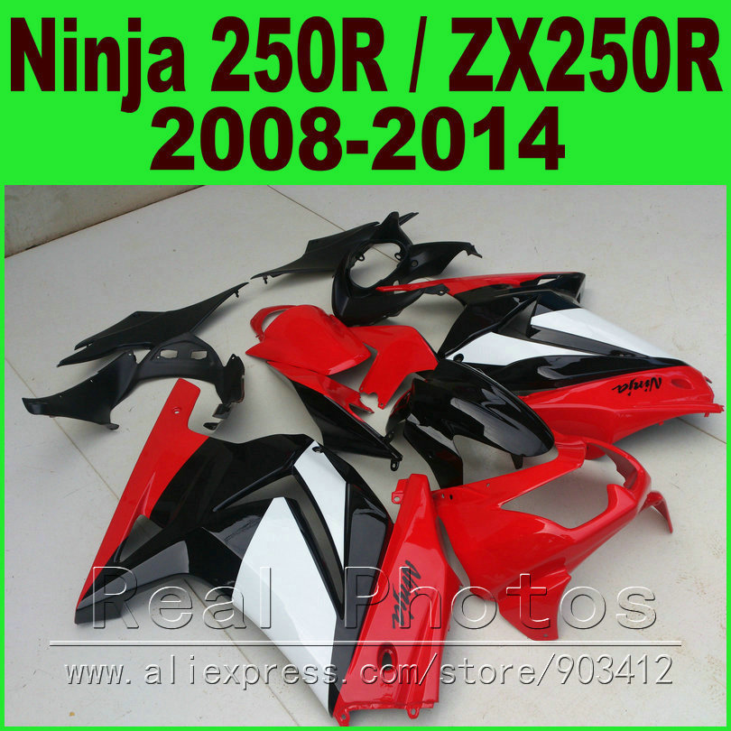 Red white Kawasaki Ninja 250r Fairings bod kit 2008 - 2014 EX250 2009 2010 2011 2012 ZX 250 fairing kits parts R4Y6(China (Mainland))