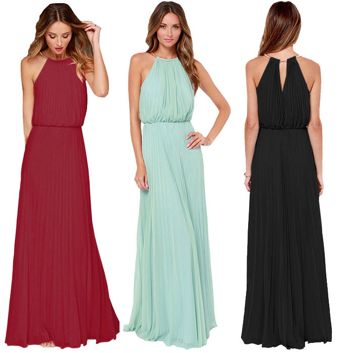 Sheinside 2015 Women Summer Mint Sleeveless Halter Pleated Maxi Long Beach Wear Solid Elegant Latest Fashionable Brand New Dress(China (Mainland))