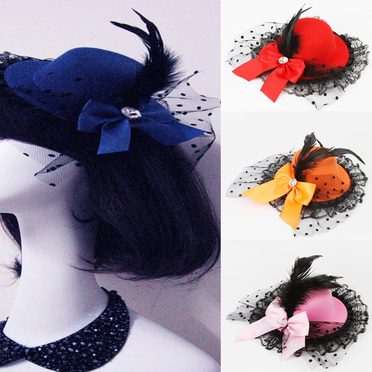 1pcs Lady Mini Feather Rose Top Hat Cap Lace Fascinator Hair Clip Costume Accessory 10 Colors Drop Shipping HDR-0125(China (Mainland))