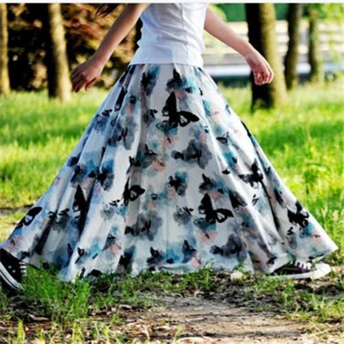 2017 Brand Maxi Skirt Women Bohemian Long Skirt Print Floral Skirts Beach Pleated Skirt Cotton Linen Elastic Waist One Size(China (Mainland))