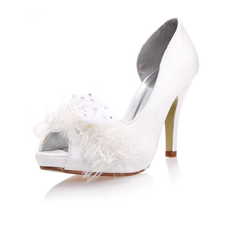 New handmade WHITE lace flowers wedding Shoes peep toe rhinestone High Heels Bridal dresses Shoes Bridesmaid dress prom Pumps