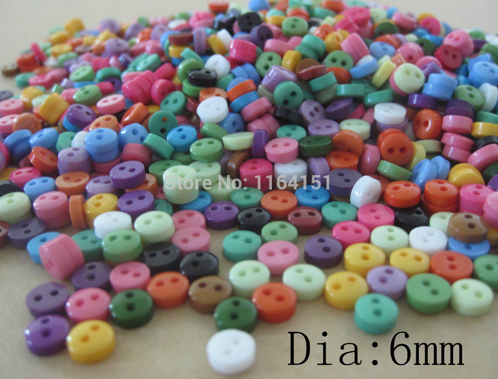 Free shipping 1500Pcs Random Mixed 2 Holes colorful Resin Scrapbooking 6mm Sewing Button clothing Craft Kids Accessorie Buttons