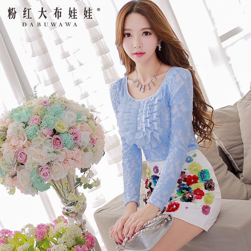 Female T-Shirt Pink Doll 2015 autumn new shirt frill slim female long sleeved T-shirt