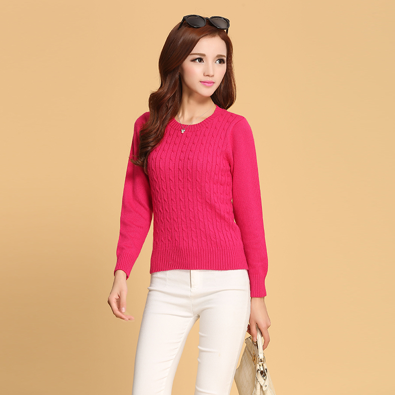Elegant Cashmere Sweater Women wholesale Cashmere Pullovers Long Sleeve O-neck Sweater Slim Fitness Knitwear Fashion Sweater(China (Mainland))