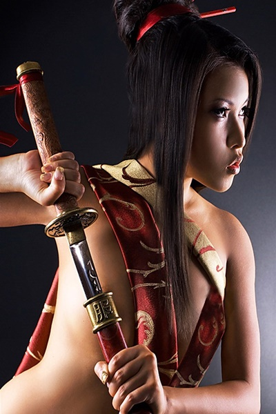 2016 Living room <font><b>home</b></font> wall <font><b>decoration</b></font> sill fabric poster <font><b>Asian</b></font> sexy girl with katana