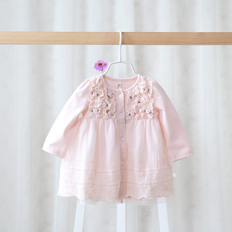 2014 New,baby girls cotton dress,children spring fashion dress,pink/blue/white/yellow,flowers,lace hem,5 pcs/lot,wholesale,0742<br><br>Aliexpress