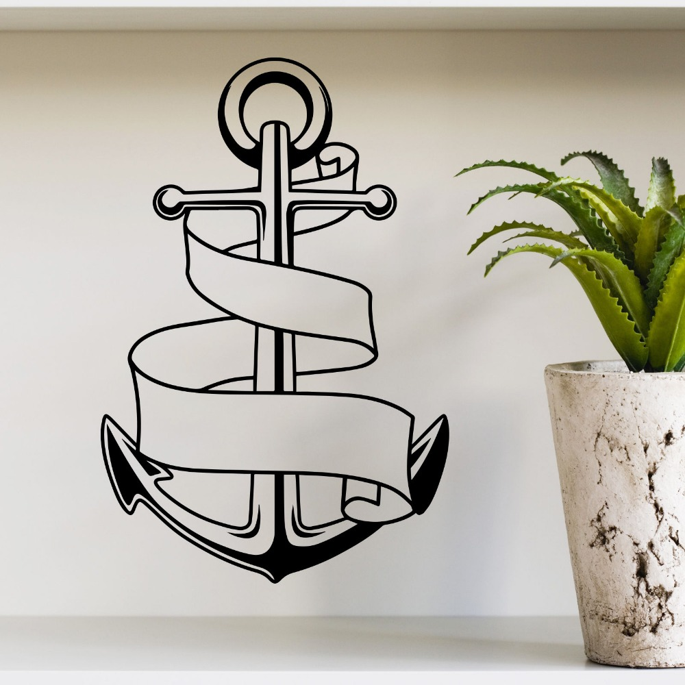 Ship vinyl wall decal anchor nautical ship boat beach home for Beach wall mural sticker