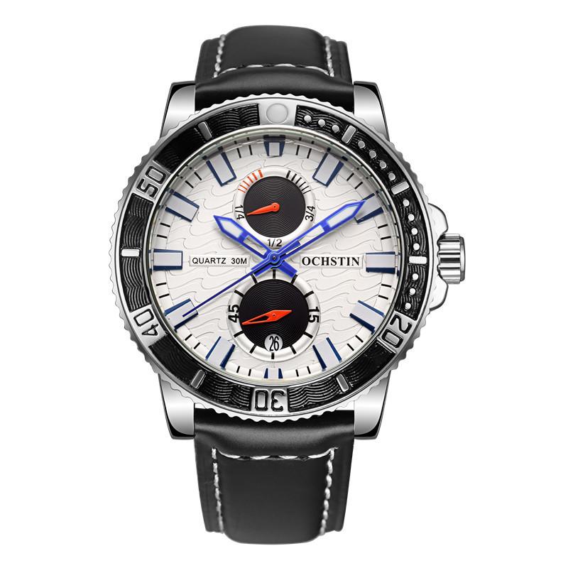 Luxury Brand OCHSTIN Chronograph Casual Watch Men Fashion Quartz Military Waterproof Sport Watch Genuine Leather Mens Wristwatch