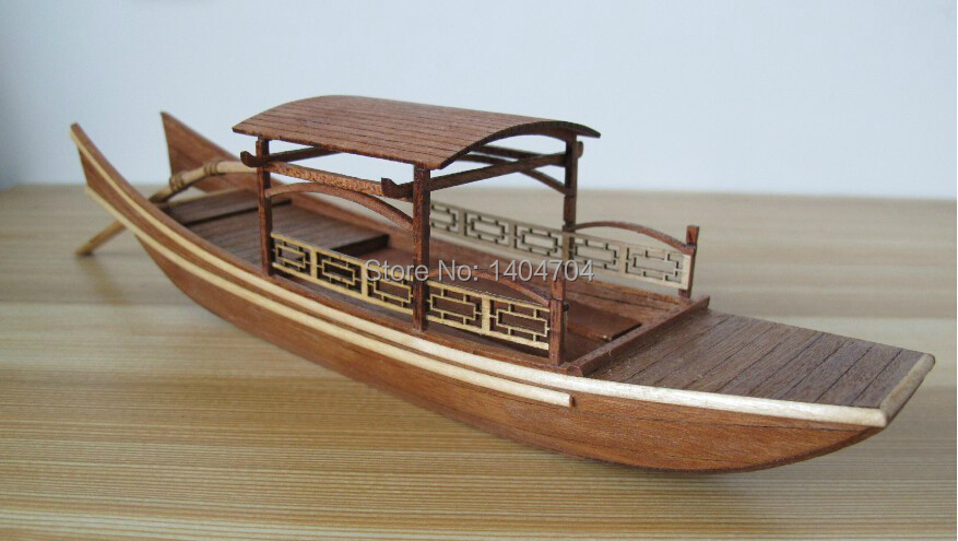 Laser-cut Wooden sailboat wooden model kit: The West Lake Sightseeing Boat Model & Free 2pcs 8*7mm wooden Buckets(China (Mainland))