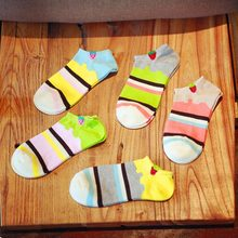 suitable spring & summer striped strawberry colors mixed cute kawaii sock slippers for women cotton sock girls 1 pair