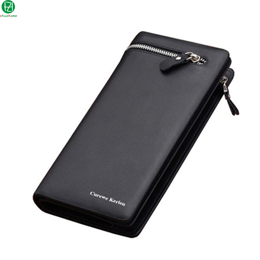 2015 Hot brand mens clutch high quality fashion business pu leather long money clip wallet  zip purse card holder with 2 colors<br><br>Aliexpress