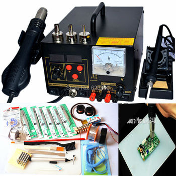Free shipping 3in1 digital Hot air gun soldering station rework station with power 220V/110V 700W 909D Upgrade Edition,Many gift