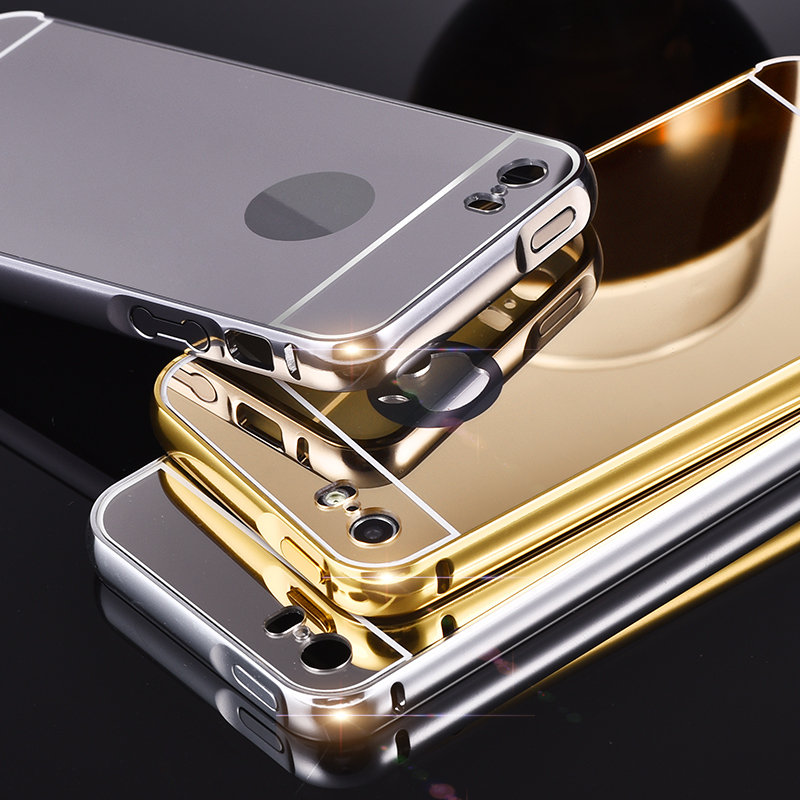 24 K gold Ultrathin mobile case For Apple iphone 5 5S 5G plus metal Aluminum phone bumper + Acrylic plastic mirror cover(China (Mainland))