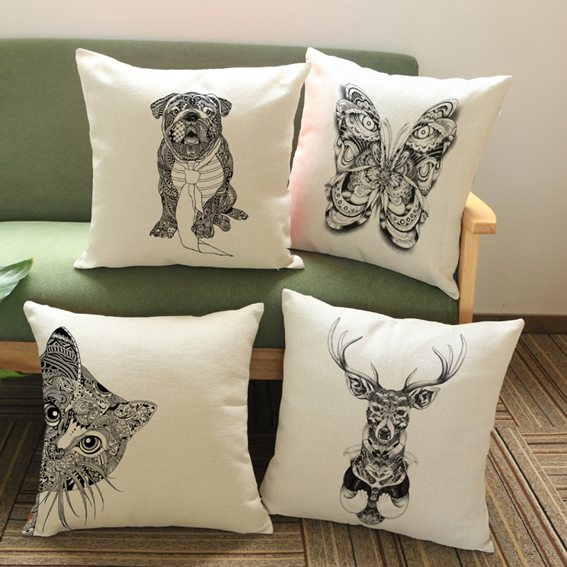 Animal Decorative Cushion Cover Printed Embroidery Linen Cotton Throw Pillowcase Housse De Coussin Pillow Cover Vintage Home(China (Mainland))