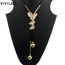 Buy VIVILADY New Lovely Crystal Butterfly Long Chain Necklaces Women Handmade Tassels Gold Color Beads Fashion Jewelry Bijoux Gifts for $3.51 in AliExpress store