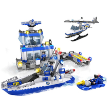 COGO 13916 Police Building Block Sets Wharf Police Toy Car Speedboat Helicopter 644pcs Educational DIY Bricks Toys