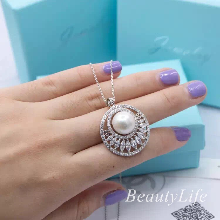 Women 925 sterling silver zircon collar neckalce with Pearl Created Diamond Lucky CO Brand Ring for Wedding mother's gift(China (Mainland))