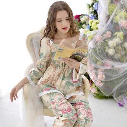 2015 new women pijama spring high quality Pastoral style Pajama Sets Long Sleeve women Sleepwear autumn Cotton Pajamas set(China (Mainland))