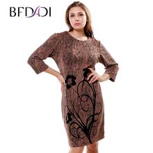 BFDADI 2016 новый промоушен Большой размер женские одежды весна - осень платье широкое цветы для работы платья свадебные платья бесплатная доста...(China (Mainland))