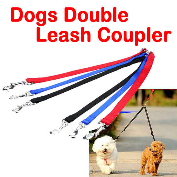 Free Shipping New Two Way Double Leash pet Coupler Walk 2 Dogs 1 Lead nylon swivel snap 3 colors dog double leash coupler(China (Mainland))
