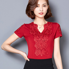 JM5FE038#512 2016 Summer Women Lace T-shirt New Hollow Out Splicing Lace Tops Female Short Sleeve V-Neck Solid Color Slim