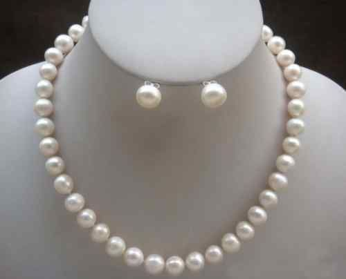 7-8mm White Akoya Cultured Pearl Necklace Earring suit  -  Alibobo store