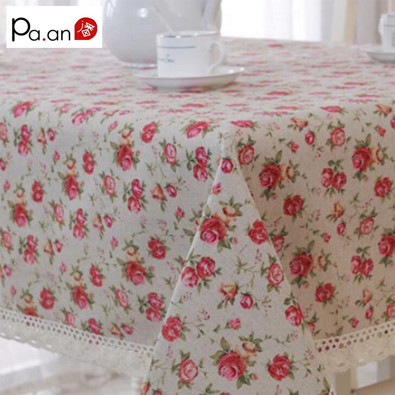 Pink Wedding Tablecloth Linen Cotton Rose Floral Printed Table Covers Lace Edge Table Cloth Rectangular Home Party Decoration(China (Mainland))