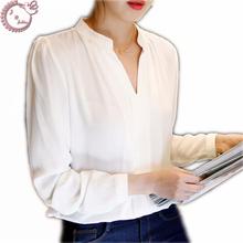 Новый 2016 падение белый цвет офис рубашки женщины шифоновая блузка простые свежие v-шея длинный рукав женская одежда Большой размер вершины